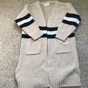 3/4 Sleeve Striped Cardigan Sweater